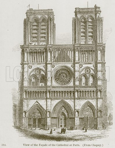 View of the Facade of the Cathedral at Paris. Illustration from A History of Architecture by James Fergusson (John Murray, 1874).