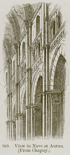 View in Nave at Autun. Illustration from A History of Architecture by James Fergusson (John Murray, 1874).