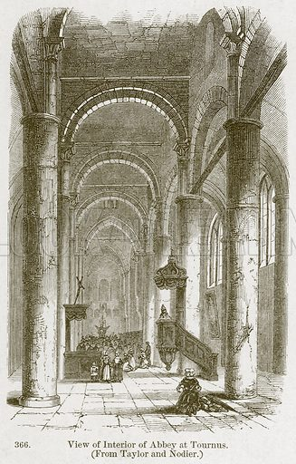 View of Interior of Abeey at Tournus. Illustration from A History of Architecture by James Fergusson (John Murray, 1874).
