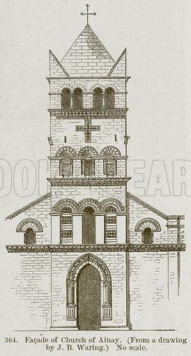 Facade of Church of Ainay. Illustration from A History of Architecture by James Fergusson (John Murray, 1874).