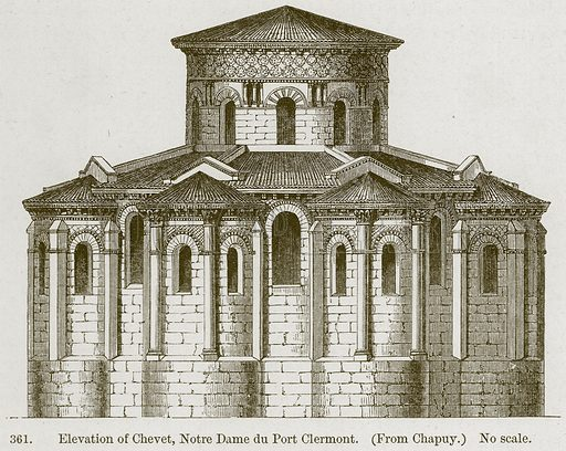 Elevation of Chevet, Notre Dame du Port Clermont. Illustration from A History of Architecture by James Fergusson (John Murray, 1874).