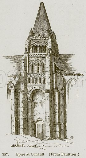 Spire at Cunault. Illustration from A History of Architecture by James Fergusson (John Murray, 1874).