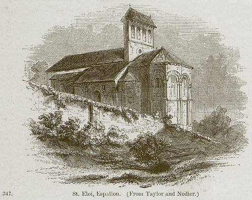 St. Eloi, Espalion. Illustration from A History of Architecture by James Fergusson (John Murray, 1874).