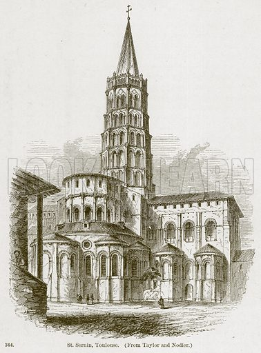 St Sernin, Toulouse. Illustration from A History of Architecture by James Fergusson (John Murray, 1874).