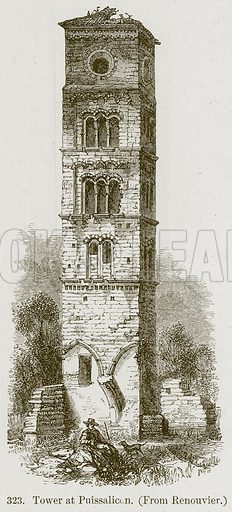 Tower at Puissalicon. Illustration from A History of Architecture by James Fergusson (John Murray, 1874).