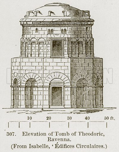 Elevation of Tomb of Theodoric, Ravenna. Illustration from A History of Architecture by James Fergusson (John Murray, 1874).