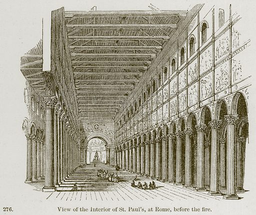 View of the Interior of St Paul's, at Rome, before the Fire. Illustration from A History of Architecture by James Fergusson (John Murray, 1874).