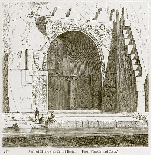 Arch of Chosroes at Takt-i-Bostan. Illustration from A History of Architecture by James Fergusson (John Murray, 1874).