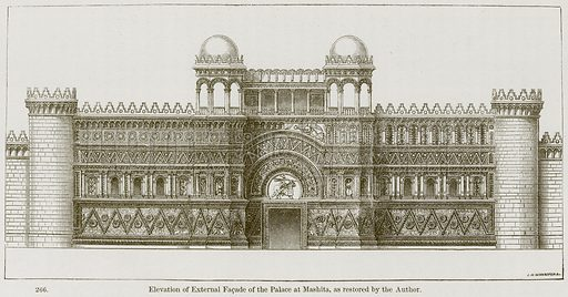 Elevation of External Facade of the Palace at Mashita, as restored by the Author. Illustration from A History of Architecture by James Fergusson (John Murray, 1874).