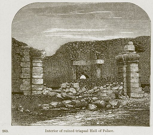 Interior of Ruined Triapsal Hall of Palace. Illustration from A History of Architecture by James Fergusson (John Murray, 1874).