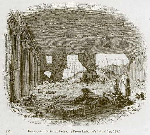 Rock-Cut Interior at Petra. Illustration from A History of Architecture by James Fergusson (John Murray, 1874).