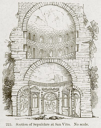 Section of Sepulchre at San Vito. Illustration from A History of Architecture by James Fergusson (John Murray, 1874).
