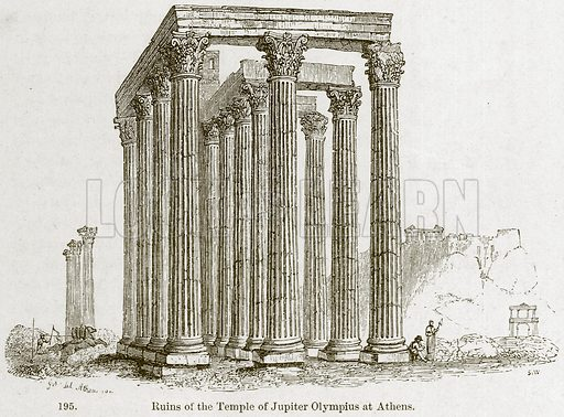 Ruins of the Temple of Jupiter Olympius at Athens. Illustration from A History of Architecture by James Fergusson (John Murray, 1874).