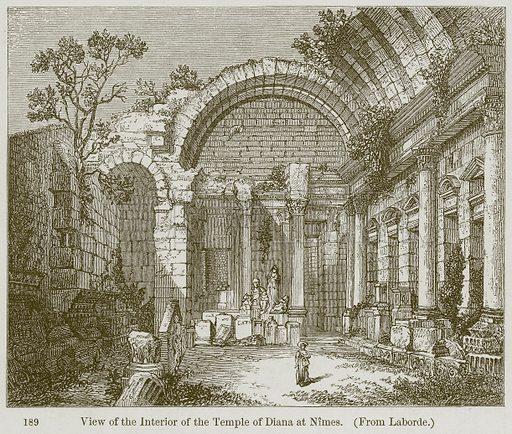 View of the Interior of the Temple of Diana at Nimes. Illustration from A History of Architecture by James Fergusson (John Murray, 1874).