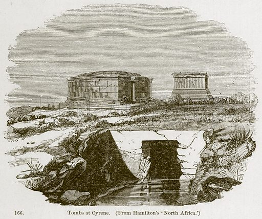 Tombs at Cyrene. Illustration from A History of Architecture by James Fergusson (John Murray, 1874).