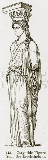 Caryatide Figure from the Erechtheium. Illustration from A History of Architecture by James Fergusson (John Murray, 1874).
