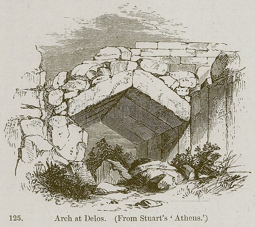 Arch at Delos. Illustration from A History of Architecture by James Fergusson (John Murray, 1874).