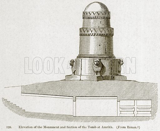 Elevation of the Monument and Section of the Tomb at Amrith. Illustration from A History of Architecture by James Fergusson (John Murray, 1874).