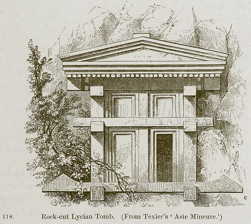 Rock-Cut Lycian Tomb. Illustration from A History of Architecture by James Fergusson (John Murray, 1874).
