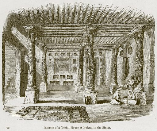 Interior of a Yezidi House at Bukra, in the Sinjar. Illustration from A History of Architecture by James Fergusson (John Murray, 1874).