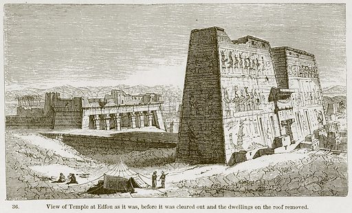 View of Temple at Edfou as it was, before it was cleared out and the Dwellings on the Roof removed. Illustration from A History of Architecture by James Fergusson (John Murray, 1874).