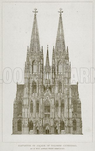 Elevation of Facade of Cologne Cathedral, as it will appear when completed. Illustration from A History of Architecture by James Fergusson (John Murray, 1874).