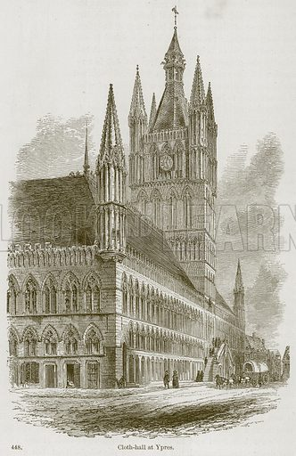 Cloth-Hall at Ypres. Illustration from A History of Architecture by James Fergusson (John Murray, 1874).