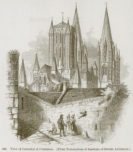 View of Cathedral at Coutances. Illustration from A History of Architecture by James Fergusson (John Murray, 1874).