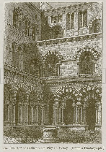 Cloister of Cathedral of Puy en Velay. Illustration from A History of Architecture by James Fergusson (John Murray, 1874).