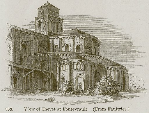 View of Chevet at Fontevrault. Illustration from A History of Architecture by James Fergusson (John Murray, 1874).