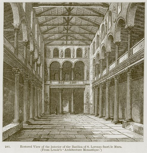 Restored View of the Interior of the Basilica of S. Lorenzo fuori le Mura. Illustration from A History of Architecture by James Fergusson (John Murray, 1874).