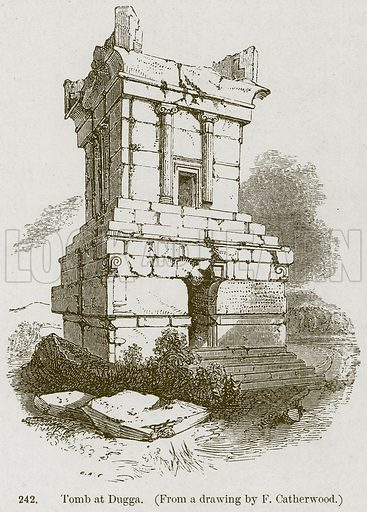 Tomb at Dugga. Illustration from A History of Architecture by James Fergusson (John Murray, 1874).