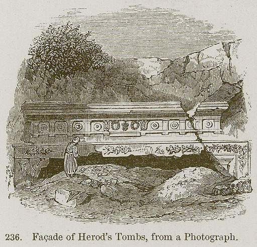 Facade of Herod's Tombs, from a Photograph. Illustration from A History of Architecture by James Fergusson (John Murray, 1874).
