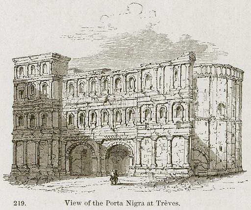 View of the Porta Nigra at Treves. Illustration from A History of Architecture by James Fergusson (John Murray, 1874).