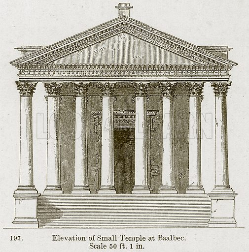 Elevation of Small Temple at Baalbec. Illustration from A History of Architecture by James Fergusson (John Murray, 1874).