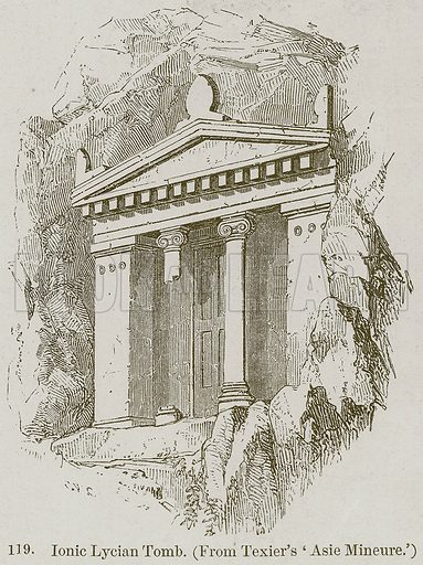 Ionic Lycian Tomb. Illustration from A History of Architecture by James Fergusson (John Murray, 1874).