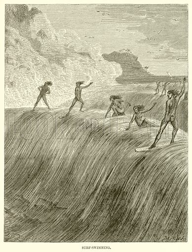 Surf-Swimming. Illustration for The Natural History of Man by J G Wood (George Routledge, 1870).
