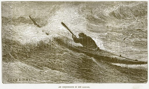 An Esquimaux in his Kayak. Illustration from Notable Voyagers by William Kingston (George Routledge, 1885).