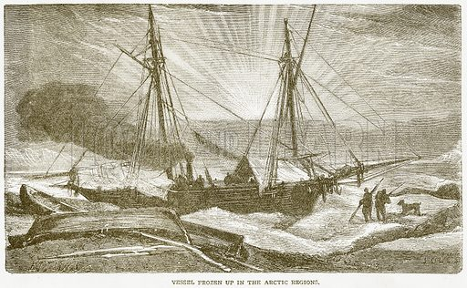 Vessel Frozen up in the Arctic Regions. Illustration from Notable Voyagers by William Kingston (George Routledge, 1885).