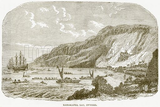 Karakavoa Bay, Owyhee. Illustration from Notable Voyagers by William Kingston (George Routledge, 1885).