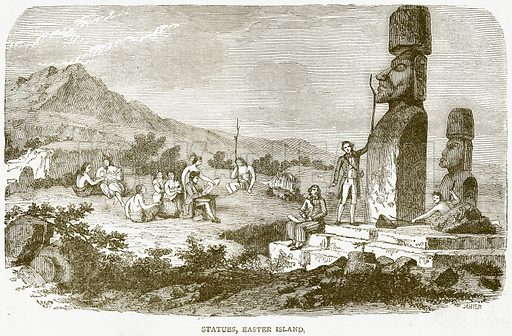 Statues, Easter Island. Illustration from Notable Voyagers by William Kingston (George Routledge, 1885).