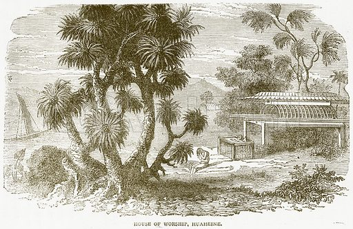 House of Worship, Huaheine. Illustration from Notable Voyagers by William Kingston (George Routledge, 1885).