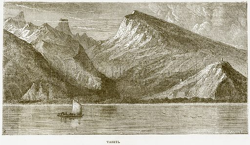 Tahiti. Illustration from Notable Voyagers by William Kingston (George Routledge, 1885).