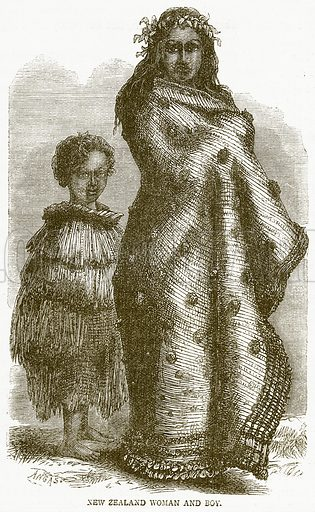 New Zealand Woman and Boy. Illustration from Notable Voyagers by William Kingston (George Routledge, 1885).