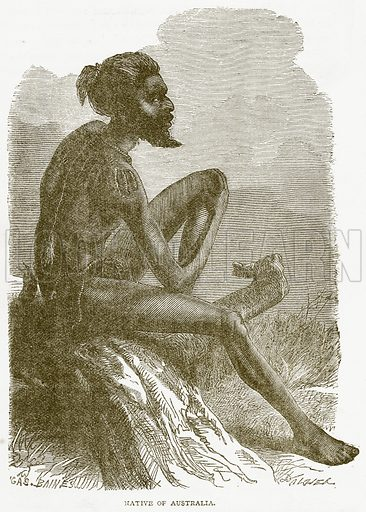 Native of Australia. Illustration from Notable Voyagers by William Kingston (George Routledge, 1885).