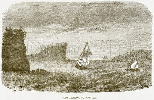 Port Jackson, Botany Bay. Illustration from Notable Voyagers by William Kingston (George Routledge, 1885).
