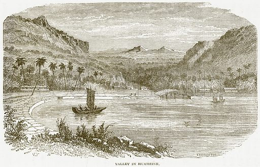 Valley in Huaheine. Illustration from Notable Voyagers by William Kingston (George Routledge, 1885).