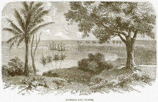 Matavia Bay, Tahiti. Illustration from Notable Voyagers by William Kingston (George Routledge, 1885).