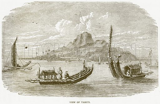 View of Tahiti. Illustration from Notable Voyagers by William Kingston (George Routledge, 1885).