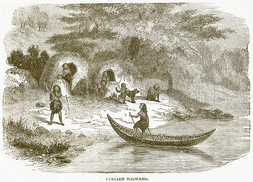 Fuegian Wigwams. Illustration from Notable Voyagers by William Kingston (George Routledge, 1885).